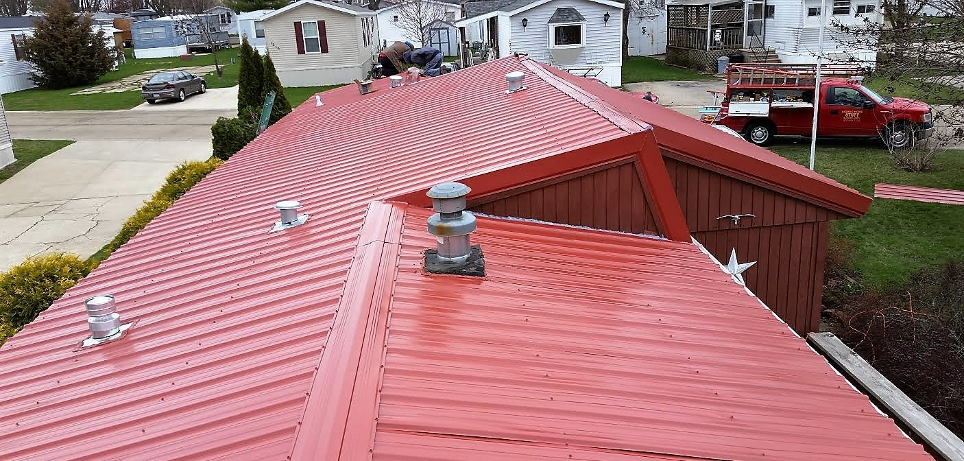 Red Metal roof instalation